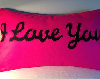 I LOVE YOU cushion - hot pink & black