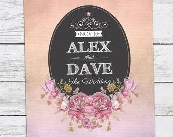 Lavender-Peach Watercolor Floral Wedding Invitation Printable DIY