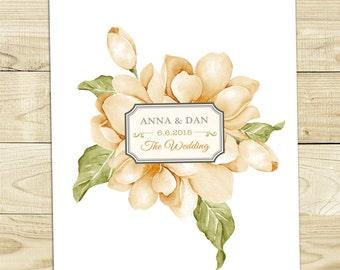 Peach-Green Floral Wedding Invitation Printable DIY