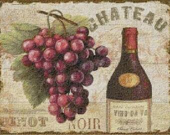 Tuscan Italian Wine Cross Stitch Pattern-Food, Beverage