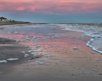 Sunrise Wild Dunes Isle of Palms South Carolina, Pink, Blue, Ocean View,  Charleston, Fine Art Print, Beach Print, Atlantic Beach