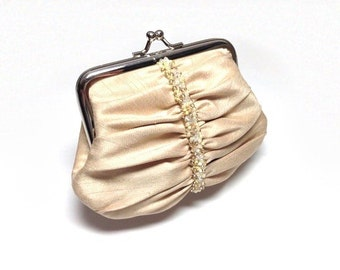 Gold swarovski elements beaded purse