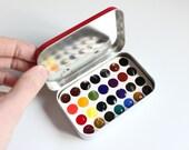 RESERVED for Barbara, Travel Watercolor Set, 28 Color Palette, Artist Grade Paints