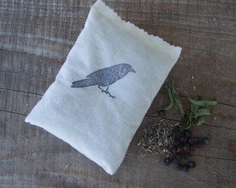 2 Crow Stamped Sachet, wellness,lavender sachet, gift for him, bird decor, gift for her, moth repellent