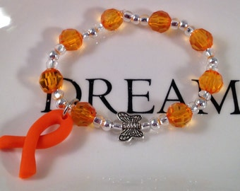 Children's Awareness Bracelets,Assorted Polymer Charms,Orange Ribbon Awareness,RSD,crps,Leukemia,MS,Kidney Cancer, ADHD, Muscular Dystrophy