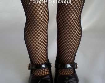 Fishnet Tights for 18 inch Girl Doll, American Made Perfect Fit Halloween Hose, Fish Net stockings, Steampunk or Goth costume, Color Options