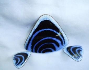 De Passille Sylvestre brooch and earrings modernist dsign-blue enamel pin