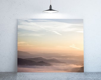 "28"" x 18"" - Nature Photograph, Large Print of Mountain Fog & Sunrise"