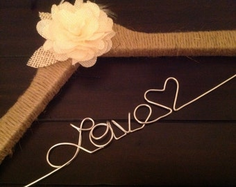 Rustic personalized bride hanger/Jute wrapped/Ivory burlap flower/wedding hanger/Bride/Name hanger