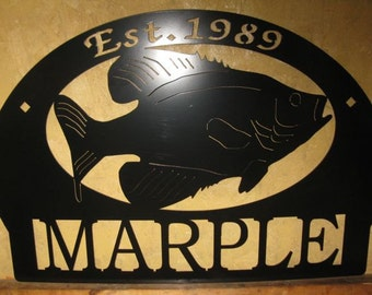 Personalized, metal sign with Crappie fish