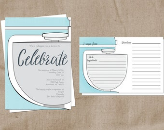 Printable Kitchen Themed Bridal Shower and Recipe Card