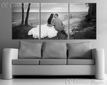 Wedding Photo Split Custom Canvas Print Art. Set of 3 same size Gallery Wrapped Canvas Print - Wedding Gift. Anniversary Gift. Wall decor.
