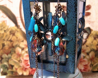 extra long beaded earrings //Dangle Earrings//Oversized Earrings// long chain beaded earrings-turquoise earrings----Valentine's Day Gift