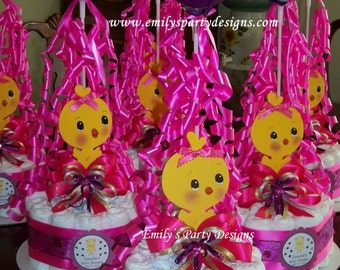 Baby Shower Diapers Centerpiece with Balloon, Baby Shower Centerpiece, chick Baby shower Centerpiece