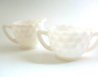 Cream & Sugar Set, Milk Glass Cream and Sugar, White Creamer, White Sugar Bowl, Milk Glass Creamer, Milk Glass Sugar, White Glass Milk Glass