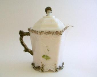 Antique Creamer, Antique White Creamer, Milk Glass Creamer, White Creamer, White and Gold, White Glass, Milk Glass, Victorian Creamer 1800's