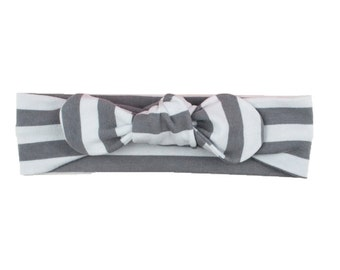 Baby Headband, Toddler Headband, Adult Headband, Baby Girl Headband, Top Knot Headband, Bow Headband, Striped Headband, Gray White Stripes
