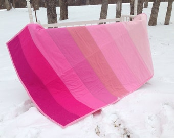 Pink ombre baby quilt, pink ombre baby blanket, pink ombre quilt, pink ombre blanket, pink chevron quilt, pink chevron baby blanket