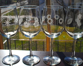Set Of Four Etched Wine Glasses With Four Season Designs