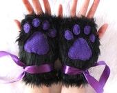 Cute Black & Purple or Colour Choice Furry Neko Kitty Cat Wolf Fox Dog Bear Faux Fur Fingerless Paw Gloves Wrist Warmers Halloween Christmas