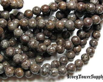 1 Strand 6mm Snowflake Jasper, Natural Stone Beads, Brown Beads, Semi Precious Beads, Gemstone Beads, Round beads