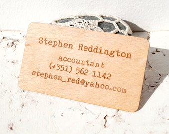 Wooden veneer business cards, engraved real wooden veneer business cards