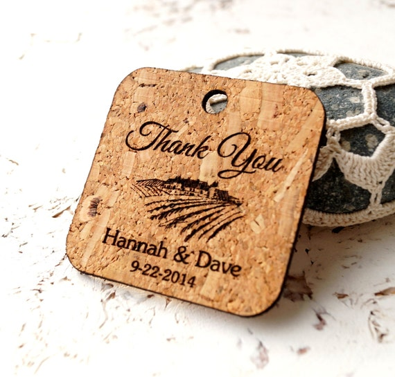 favor tags, personalized wedding favor tags, custom engraved cork tags ...