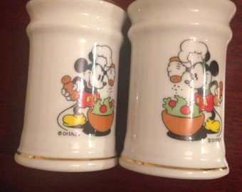 Vintage Mickey Mouse Chef Cooker Disney Salt and Pepper Shakers