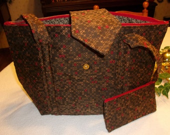 Zippered fabric purse, fully lined.