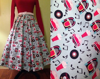 Vintage Style Pleated Circle Skirt with Jukebox Print