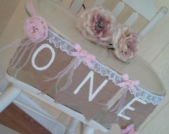 Fluttering Pink 1st Birthday Highchair Banner