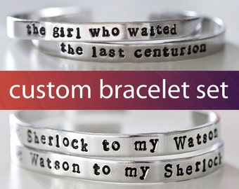 Custom Cuff Bracelet Set, Friendship Bracelets, Design Your Own, Custom Bracelet Set