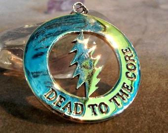 "Grateful Dead Pendant Fire on the Mountain ""Dead to the Core"" Pendant Sterling Silver Deadhead"