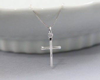 Cross Necklace, Sterling Silver Cross Necklace, Sterling Silver Cross Pendant on Sterling Silver Necklace Chain