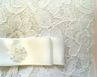 Ring Bearer Cushion Lace Ring pillow Ivory or White With swarovski crystals and French lace