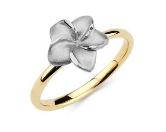 14K Two-Tone Plumeria Ring, Plumeria Jewelry, Floral Ring, Floral Jewelry, Gold Ring, Gold Jewelry, Floral, Gold, Ring, Two-Tone Ring