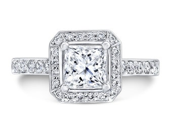 Princess cut Forever One 5.5mm Moissanite Halo Engagement Ring