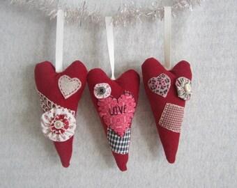 Set of 3 Heart Ornaments