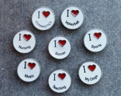 CLEARANCE- Floating Charm For Glass Memory Lockets- I Love Gymastics, Volleyball, Nursing, Soccer, Sports, Music, Teaching, Dogs