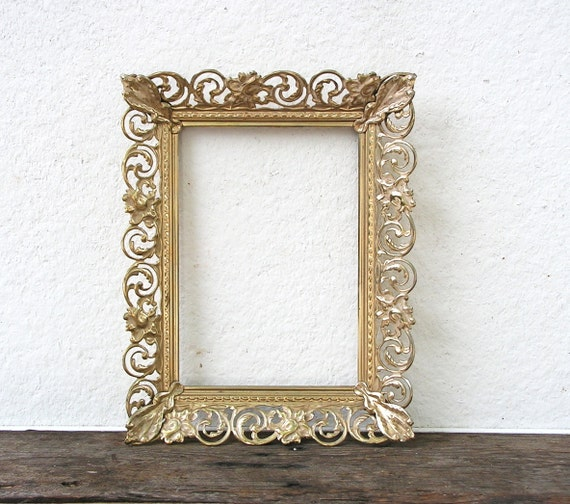 beautiful gold 8x10 ornate vintage metal frame lacey fancy filigree frame wedding centerpiece cottage shabby