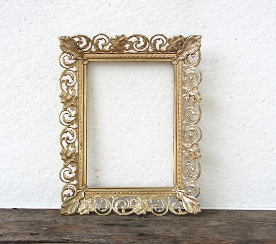 5x7 gold metal frame filigree picture frame art deco brass ornate frame