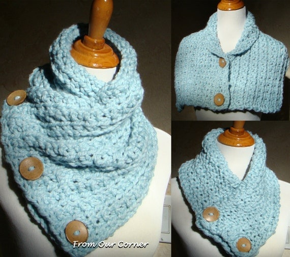 Free Crochet Pattern For Dallas Dream Scarf : Boston Habor Style Scarf 3 Button scarf Sky Blue Crochet