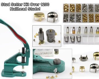 Bedazzler Nailhead Stud Setter Tool Handpress Kit Over 1400 Gold, Silver, Spot, Pearl Studs