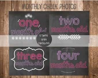 Monthly Chalkboard Pictures for Baby Girl-Printable Monthly Chalk Photos-8x10 Chalkboard Images-Pink and Purple