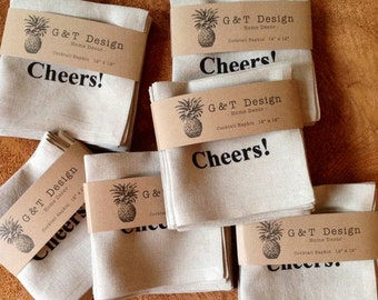 """100% Linen Cocktail Napkins Screen Printed with """"Cheers!"""" , Set of 4, Hostess Gift , Wedding Gift"""