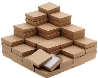 "100 Jewelry Gift Boxes 100 Kraft Cotton Filled Lid Tan 3.5"" x 3.5"" x 1"""