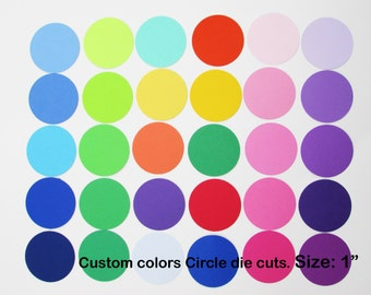 1 inch Paper Circle Die Cuts/ 1 inch/ Custom colors/ --choose your set size--