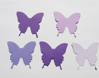 "Paper butterfly die cuts /purple set / 50pc/  size from  1.5"" to 8"",/great for tags, scrapbooking, baby shower"