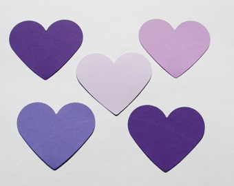 "Set of  PURPLE die cut hearts/  card-stock paper/  size 2 3/8""/ 50 pc set"
