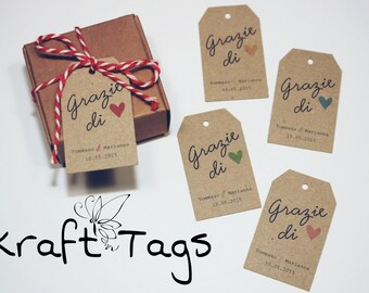 "15 tags in kraft paper ""thank you"""